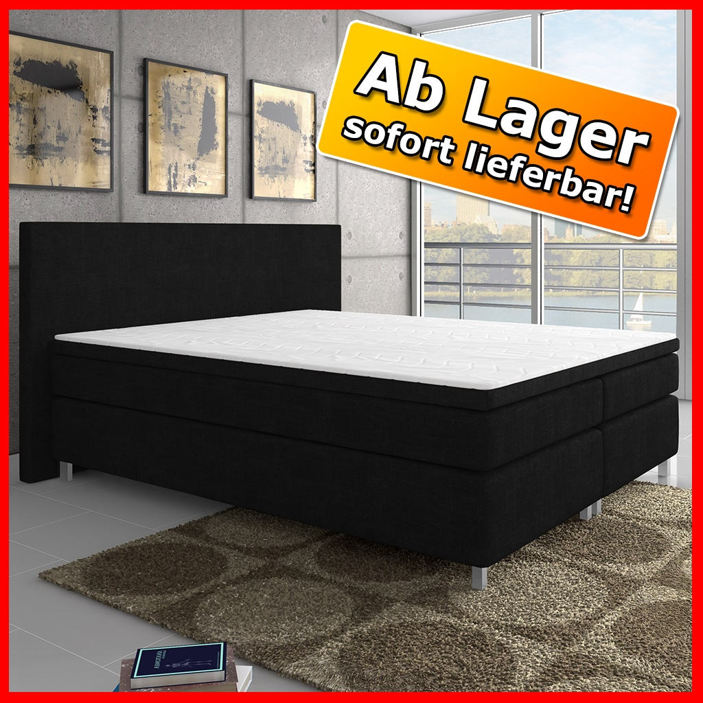 boxspringbett king size xl bett hotelbett designerbett 180x200 webstoff schwarz ebay. Black Bedroom Furniture Sets. Home Design Ideas